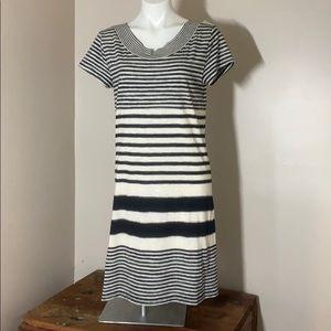 Anthro Maeve Navy Ivory stripe knit dress m